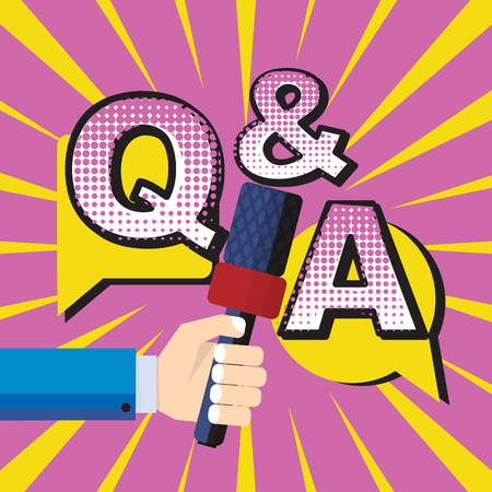 Color comic speech bubble and banner with text Q and A concept vector pop art style. Question and answer, poll or quiz with businessman hand holding microphone