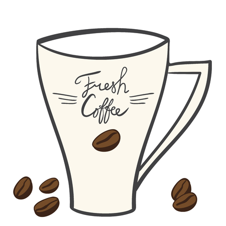hand-drawn cartoon mug with coffee, coffee beans, inscription - fresh coffee logo for the coffee shop