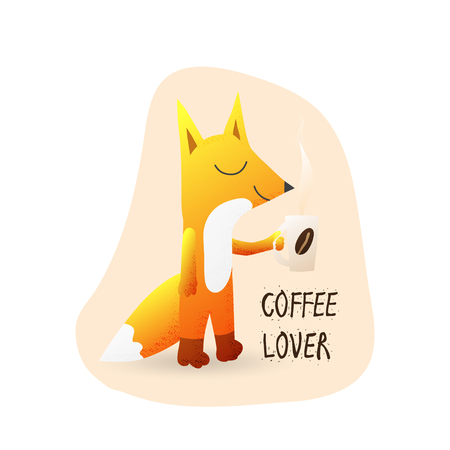 Cute cartoon fox with coffee and text coffee lover. Fox cool illustration for cafe menu design, coffee house decor, nursery wallpaper, t-shirt, birthday card