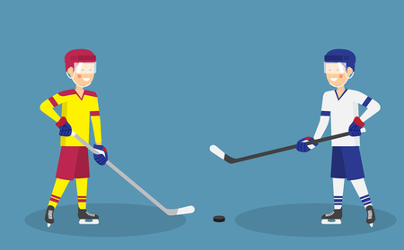 Two cute ice hockey players with stick and puck ready for action -  Ice hockey match concept vector flat style illustration