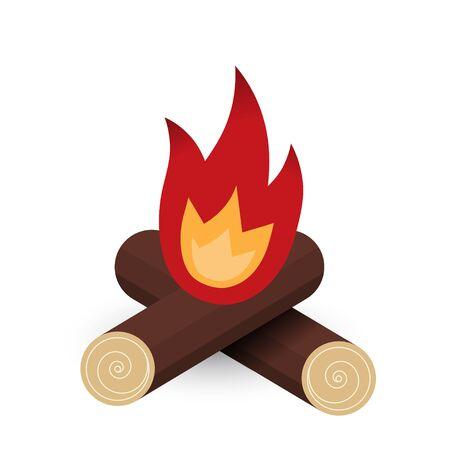 fire of logs illustration