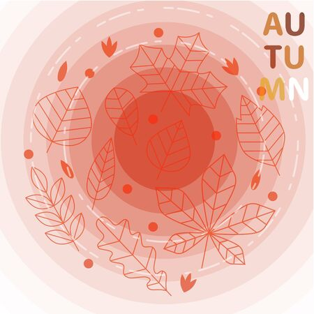 Autumn themed text art decorated on red  background. Print for autumn season themed social media posts, banners and printables