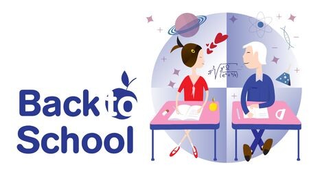 back to school concept  schoolboy and schoolgirl look at each other
