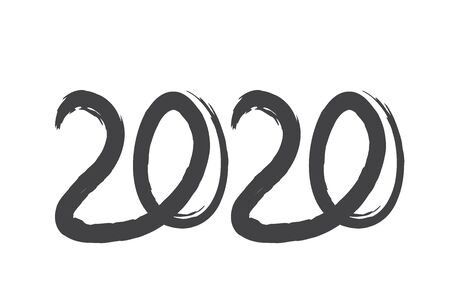 Greeting card design template with Chinese calligraphy 2020 New Year of Rat. Grunge number 2020 hand drawn lettering.