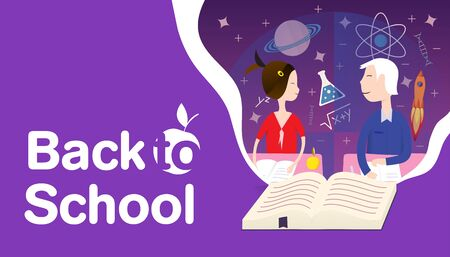 back to school concept book of knowledge and skills and schoolboy and schoolgirl look at each other