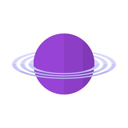 planet with rings in flat style - planet with rings icon isolated on white background