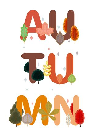Autumn themed text art decorated with red and orange trees and falling leaves. Print for autumn season themed social media posts, banners and printables Illustration
