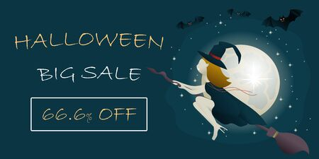 Halloween Big Sale banner template with  witch vampire flying on a broomstick. template for the Halloween. Mystical illustration. Vector illustration of a witch vampire girl.