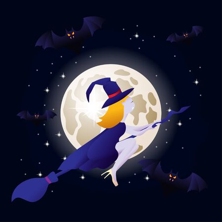 witch vampire flying on a broomstick and bats on background of the moon. template for the Halloween. Mystical illustration. Vector outline of a witch vampire girl.