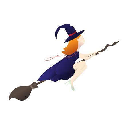 cute witch vampire flying on a broomstick. template for the Halloween. Vector Mystical illustration of a witch vampire girl.