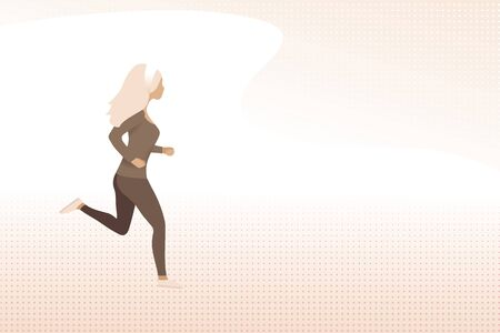 running woman on abstract background with copy space. vector illustration of a beautiful sport jogging girl Ilustracja