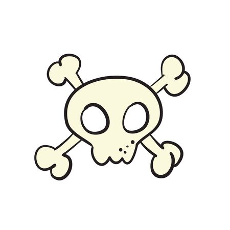 Cartoon skull and bones sign. Jolly roger pirate flag concept. Crossbones, death skull or poison icon. Vector illustration of pirate sign