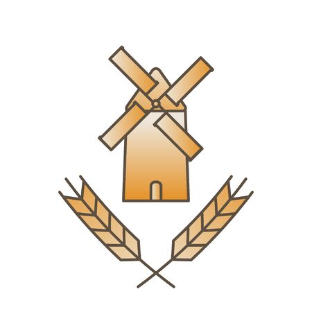mill and ears logo - ancient traditional rural windmilll  farm power ecology.Wind mill flat vector illustration Archivio Fotografico - 129738327