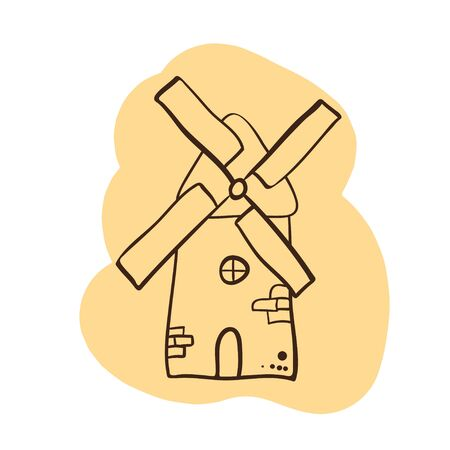mill logo - Doodle style - ancient traditional rural windmilll  farm power ecology.Wind mill flat vector illustration