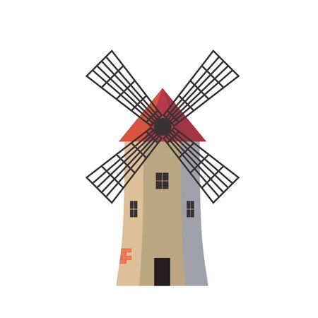 ancient traditional rural windmilll  farm power ecology.Wind mill flat vector illustration Ilustrace
