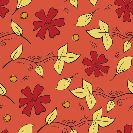 Seamless botanical pattern with flowers, berries and leaves on red background. Natural seamless backdrop with  plants, wild berries and foliage. Seasonal hand drawn vector illustration. Illustration
