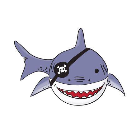 funny pirate shark cartoon - vector illustration of pirate shark