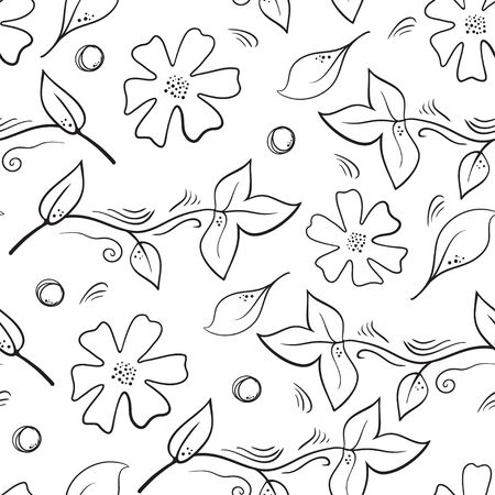 Seamless botanical pattern with flowers, berries and leaves on white background. Natural seamless backdrop with  plants, wild berries and foliage. Seasonal hand drawn line vector illustration. Illustration