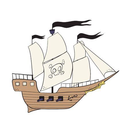 Cartoon pirate buccaneer filibuster corsair sea dog ship icon game - flat pirate ship vector illustration Illustration