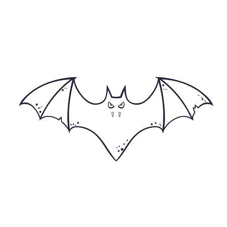 horror silhouette of a bat vampire flying. template for the Halloween. Mystical illustration. Vector outline of a bat vampire logo Ilustrace