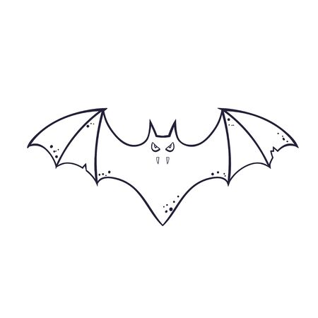 horror silhouette of a bat vampire flying. template for the Halloween. Mystical illustration. Vector outline of a bat vampire logo Illustration