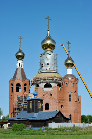 St. Petersburg, Russia - August 15, 2019: construction of the Orthodox Church in St. Petersburg