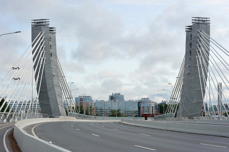 St. Petersburg, Russia, August 3, 2019: cable-stayed bridge Betancourt in St. Petersburg