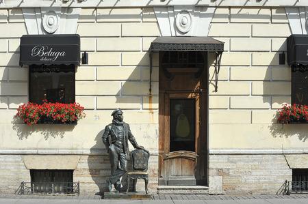 St. Petersburg, Russia - August 11, 2019: bronze monument to Ostap Bender on the Italian street in St. Petersburg