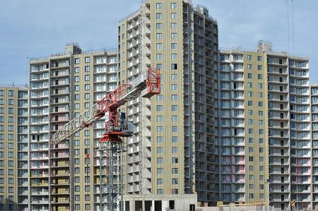 St. Petersburg, Russia - August 11, 2019: construction of apartment buildings in St. Petersburg Redakční