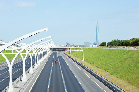 St. Petersburg, Russia - August 11, 2019: automobile traffic on the North-Western high-speed diameter in St. Petersburg Redakční