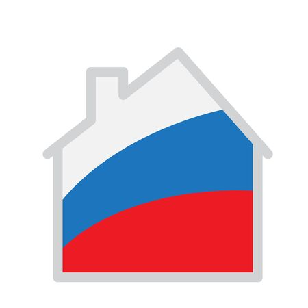silhouette of the house with Russian tricolor inside - stylized image of the house Stock Illustratie