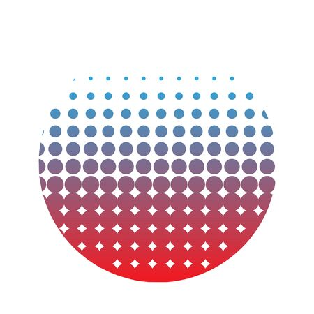 abstract in the form of a circle of dots. blue-red gradient - vector
