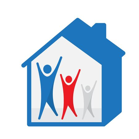 three human figures with their hands up in the house - stylized image of the house