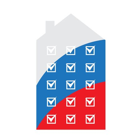 silhouette of the house with Russian tricolor inside - stylized image of the house with ticks for voting