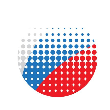 silhouette of the circle with Russian tricolor inside - stylized with dots Stock Illustratie