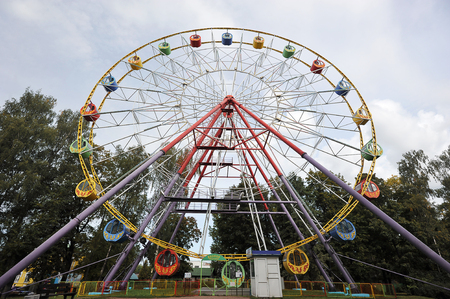 St. Petersburg, Russia-September 08, 2019: Ferris wheel in Babushkin amusement Park in St. Petersburg