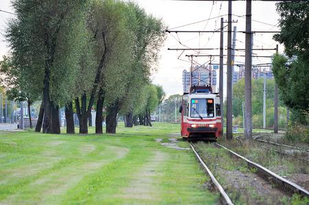 St. Petersburg, Russia-September 19, 2019: old tram rides on the rails on the route number 52 St. Petersburg