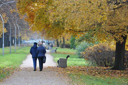 St. Petersburg, Russia - October 20, 2019: people walk in the autumn Park