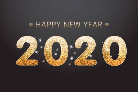 Golden red text 2020 on abstract background for Happy New Year celebration greeting card design.