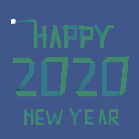 Tape text 2020 on blue background for Happy New Year celebration greeting card design.