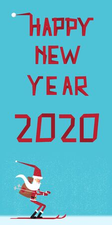 Tape text 2020 on abstract background for Happy New Year celebration greeting card design. Santa on skis with gifts