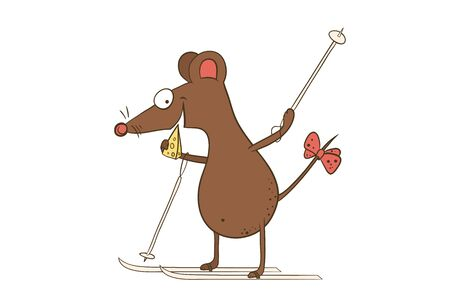 cartoon character-funny mouse goes skiing with a piece of cheese-the symbol of the year of the rat on the Chinese calendar
