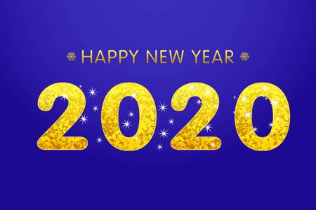 Golden text 2020 on abstract background for Happy New Year celebration greeting card design on blue