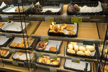 Narva, Estonia - September 29, 2019: fresh pastries at the Prisma shop in Narva