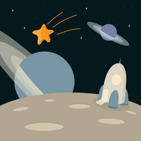 space landscape in cartoon style-space, planets, star, spaceship Illustration
