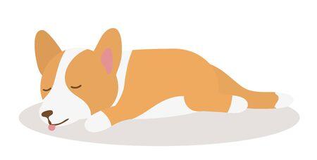 Welsh Corgi dog sleeping on a Mat - cartoon style illustration
