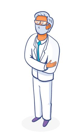 Doctor man cartoon character. Medical insurance template - modern digital illustration, doctor portrait. Young M.D. - man in mask wearing glasses, white medical coat, tie, standing crossing his hands