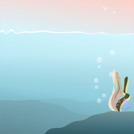 background of seafloor with algae and corals with place for text - illustration in cartoon style