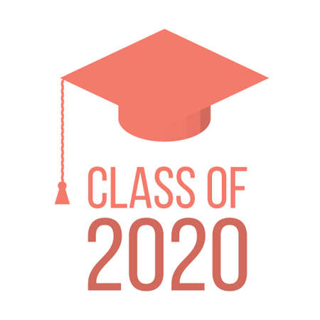 Graduating class in 2020 with Graduation Cap - pink color Illustration
