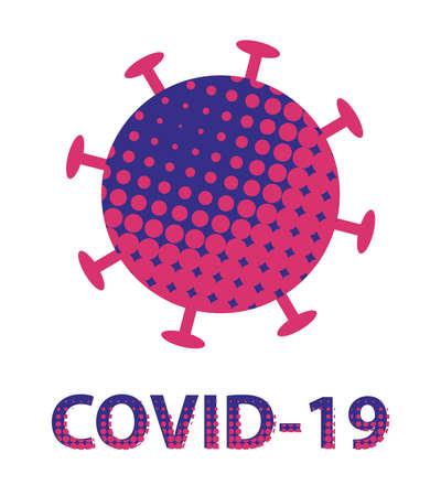 coronavirus   in pop art style - icon with coronavirus covid-19 - Coronavirus outbreak.  Pop art retro dotted text Illustration